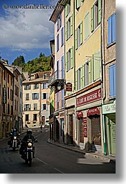 castellane, colorful, colors, europe, france, motorcycles, provence, towns, vertical, photograph