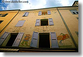 castellane, colors, europe, france, horizontal, murals, oranges, provence, towns, windows, photograph