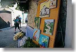 castellane, colorful, colors, europe, france, hikers, horizontal, paintings, provence, towns, photograph