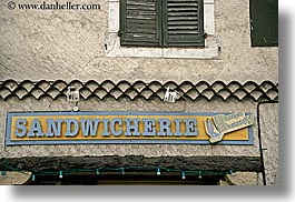 castellane, europe, france, horizontal, provence, sandiwich, shops, signs, towns, photograph