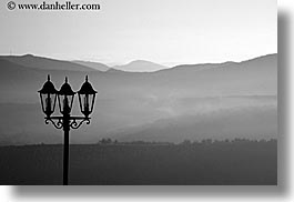 black and white, castles, chateau trigance, dawn, europe, france, horizontal, lamps, nature, provence, scenics, photograph