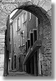 arches, archways, black and white, europe, fayence, france, narrow, provence, streets, structures, vertical, photograph