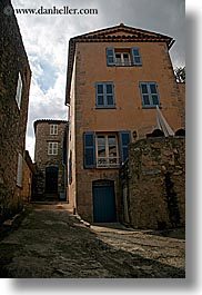buildings, europe, fayence, france, narrow, provence, streets, vertical, photograph