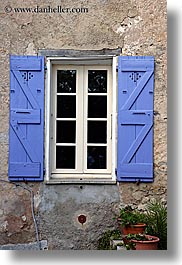 blues, colors, europe, fayence, france, provence, purple, shuttered, vertical, windows, photograph
