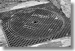 black and white, cannes, covers, europe, fayence, france, horizontal, manholes, provence, photograph