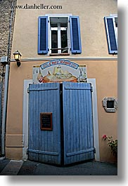 blues, cheese, colors, doors, europe, fayence, france, provence, stores, vertical, windows, photograph