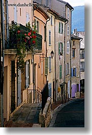 buildings, colorful, europe, fayence, france, provence, vertical, photograph