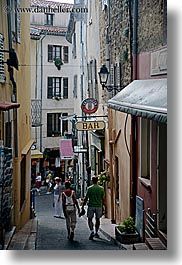 couples, europe, fayence, france, narrow, provence, streets, vertical, walking, photograph
