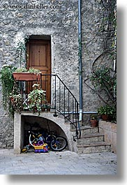 doors, europe, fayence, france, provence, stairs, toys, vertical, photograph