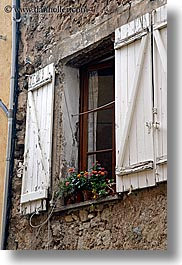 europe, fayence, flowers, france, old, provence, vertical, windows, photograph