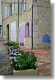 colorful, europe, fayence, flowers, france, provence, shutters, vertical, photograph