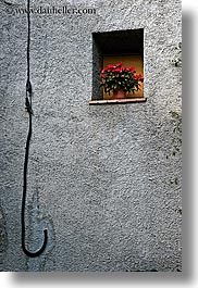 europe, fayence, flowers, france, hooked, provence, vertical, wires, photograph