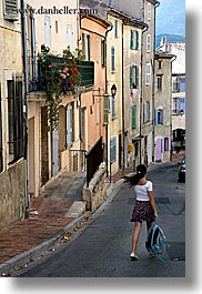 colorful, europe, fayence, france, girls, provence, streets, vertical, walking, photograph