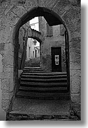 arches, archways, black and white, europe, fayence, france, gothic, provence, stairs, structures, vertical, photograph