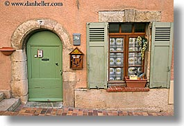 archways, colors, doors, europe, fayence, france, green, horizontal, oranges, provence, structures, windows, photograph