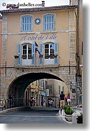 archways, europe, fayence, france, hotel de ville, provence, structures, tunnel, vertical, photograph