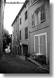 black and white, europe, fayence, france, narrow, provence, streets, vertical, photograph