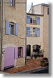 blues, colors, europe, fayence, france, pink, provence, shutters, vertical, photograph