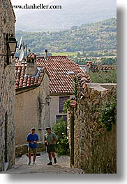 europe, fayence, france, men, narrow, people, provence, streets, tourists, vertical, photograph