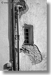 concrete, europe, fayence, france, pipes, provence, vertical, windows, photograph