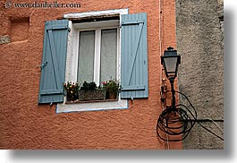colors, europe, fayence, flowers, france, horizontal, lamps, oranges, provence, windows, photograph