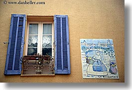 colors, europe, fayence, france, horizontal, provence, purple, tiled, walls, windows, photograph