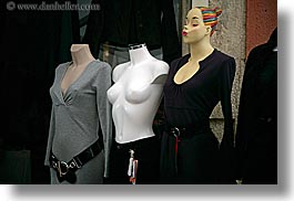 black, colors, europe, fayence, france, horizontal, mannequins, people, provence, womens, photograph