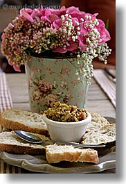 bread, colors, europe, flowers, foods, france, olives, pink, provence, vertical, photograph