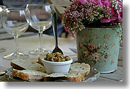 bread, colors, europe, flowers, foods, france, horizontal, olives, pink, provence, photograph