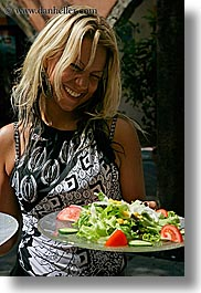 blonds, emotions, europe, france, grasse, happy, laugh, people, provence, salad, serving, sexy, vertical, womens, photograph