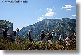activities, cliffs, europe, france, hikers, hiking, horizontal, mountains, nature, people, provence, photograph
