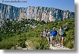 activities, cliffs, europe, france, hikers, hiking, horizontal, mountains, nature, people, provence, waving, photograph