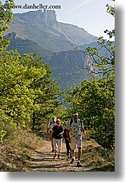 activities, europe, france, hikers, hiking, mountains, nature, people, plants, provence, trees, vertical, photograph