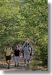 activities, europe, france, hikers, hiking, nature, people, plants, provence, trees, vertical, photograph