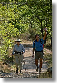 activities, europe, france, hikers, hiking, nature, people, plants, provence, trees, vertical, waving, photograph