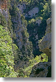 activities, europe, france, hikers, hiking, nature, overhang, people, plants, provence, trees, vertical, photograph