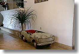 artwork, cars, europe, france, horizontal, hotel des messugues, plants, provence, photograph
