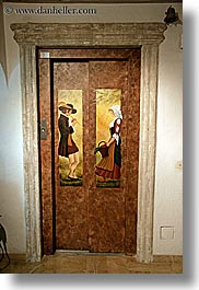 arts, doors, elevator, europe, france, hotel des messugues, murals, paintings, provence, vertical, photograph