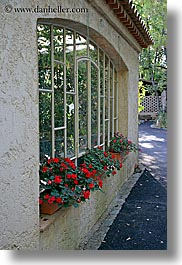 europe, france, geraniums, hotel des messugues, provence, vertical, windows, photograph