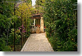 colors, europe, france, green, horizontal, hotel des messugues, nature, paths, plants, potted, provence, tiles, trees, photograph