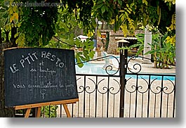 europe, france, horizontal, hotel des messugues, pools, provence, signs, small, photograph