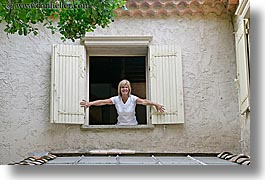 europe, france, horizontal, hotel des messugues, opening, provence, windows, womens, photograph