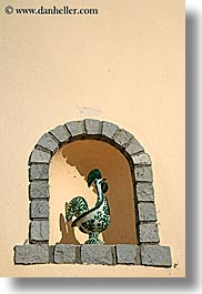 arches, archways, ceramics, europe, france, moulin de camandoule, provence, rooster, structures, vertical, photograph