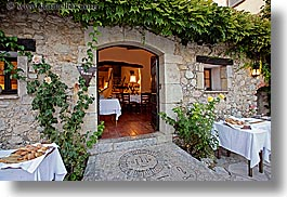 archways, buildings, cobblestones, dining, doors, europe, france, horizontal, materials, moulin de camandoule, provence, restaurants, rooms, stones, structures, photograph
