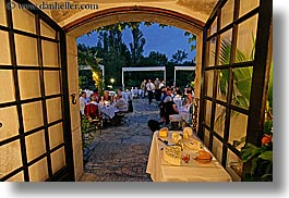 archways, buildings, dining, doors, dusk, europe, france, horizontal, moulin de camandoule, outdoors, provence, restaurants, structures, photograph