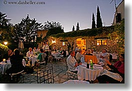 buildings, dining, dinner, dusk, europe, foods, france, horizontal, moulin de camandoule, outdoors, provence, restaurants, structures, photograph