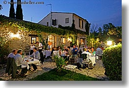 buildings, dining, dinner, dusk, europe, foods, france, horizontal, moulin de camandoule, nite, outdoors, provence, restaurants, structures, photograph