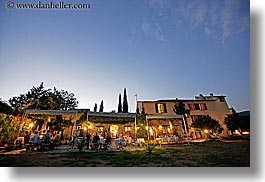 blues, colors, dining, dusk, europe, france, horizontal, moulin de camandoule, outdoors, provence, photograph