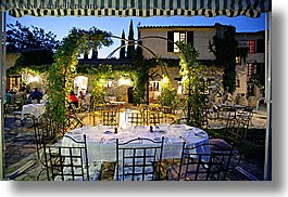 buildings, dining, dusk, europe, france, horizontal, moulin de camandoule, outdoors, provence, restaurants, structures, photograph