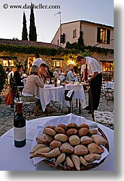 bread, buildings, dining, dinner, dusk, europe, foods, france, moulin de camandoule, outdoors, provence, restaurants, structures, vertical, photograph